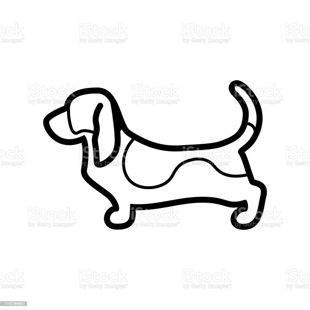Ilustración De Basset Hound Perro Icono Aislado Sobre Fondo Blanco Y