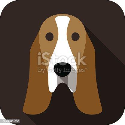 basset hound face flat icon, dog series