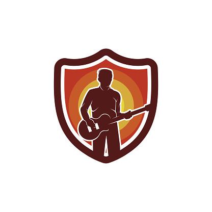 Bassist Shield Logo Template Design Vector, Emblem, Design Concept, Creative Symbol, Icon