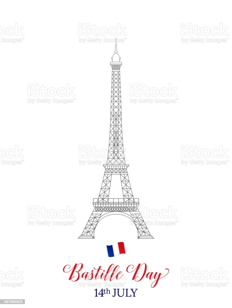 Bastille Day 14 July . French Eiffel Tower typography and flag. vector art illustration