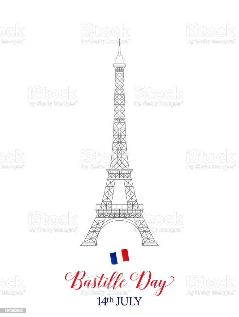 Fête nationale 14 juillet. Typographie de la Tour Eiffel de Français et d'un drapeau. - Illustration vectorielle
