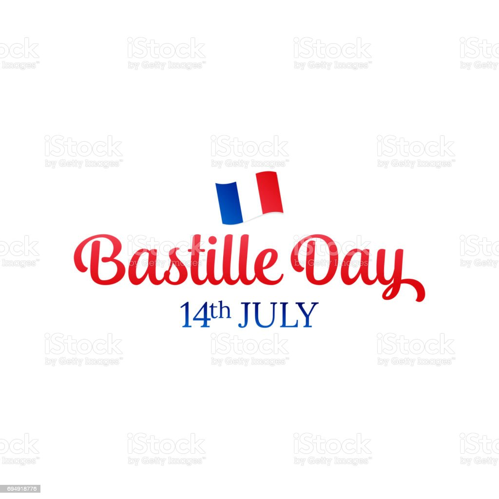 Bastille Day. 14 July. French flag and typography. vector art illustration
