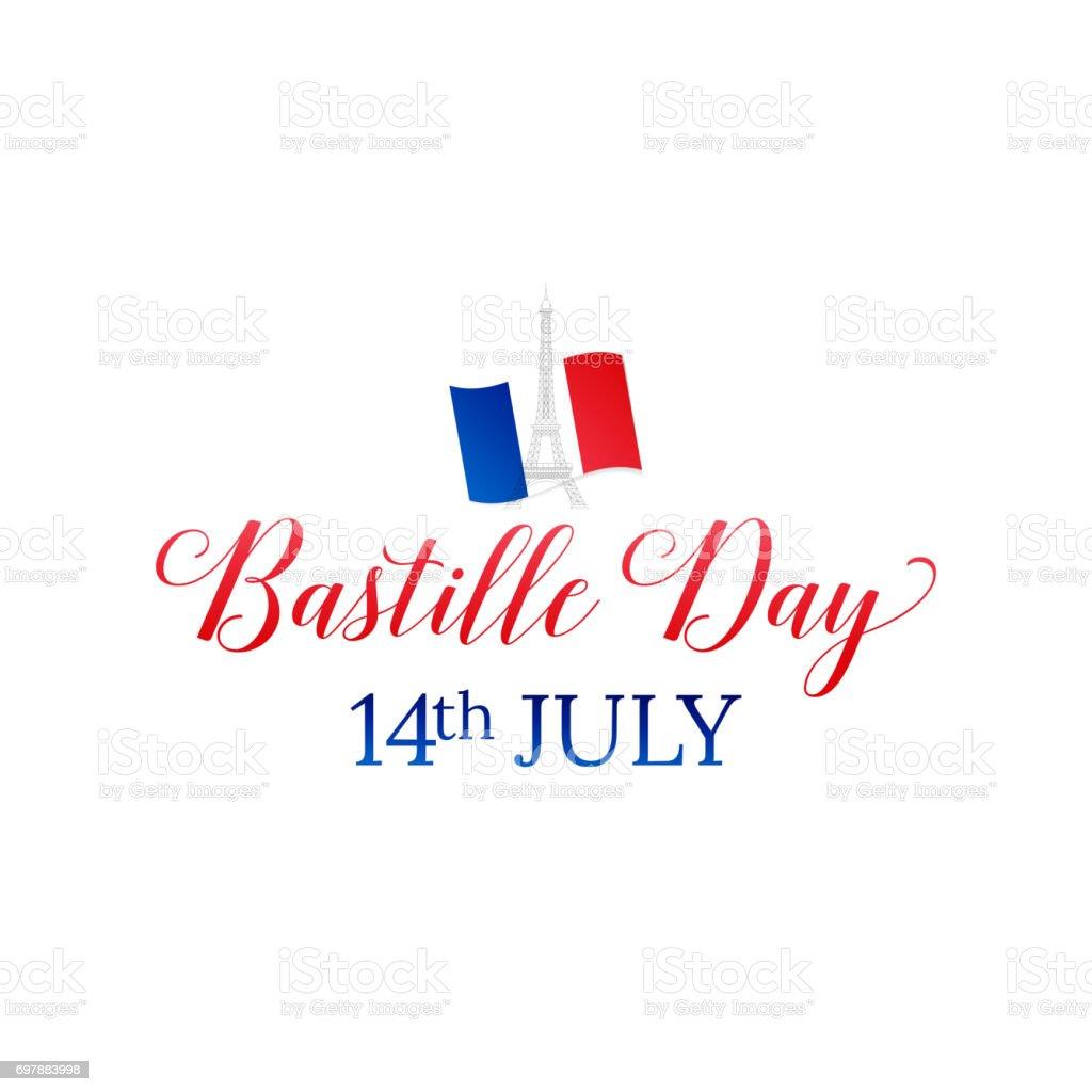 Bastille Day. 14 juillet. Drapeau Français et la typographie. - Illustration vectorielle