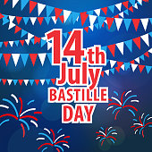 Bastille Day is the French National Day to celebrate the unity of French people on the date 14th July with bunting and fireworks
