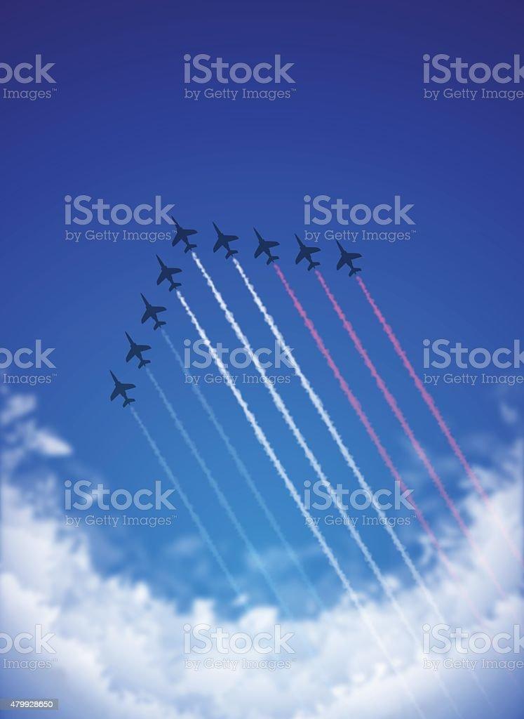 Arrière-plan de la Bastille [ Air Show et Tricolor contrails ] - Illustration vectorielle