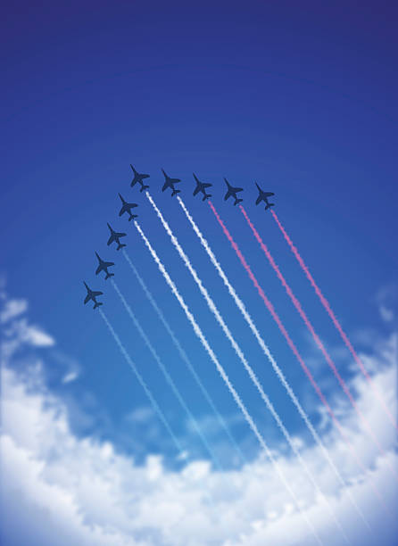 Bastille Day background[Air Show and Tricolor contrails] This illustration is a background of the text for