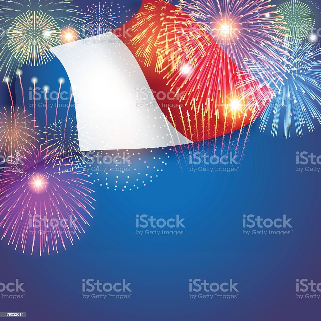 Bastille day background[Flag and Fireworks] vector art illustration