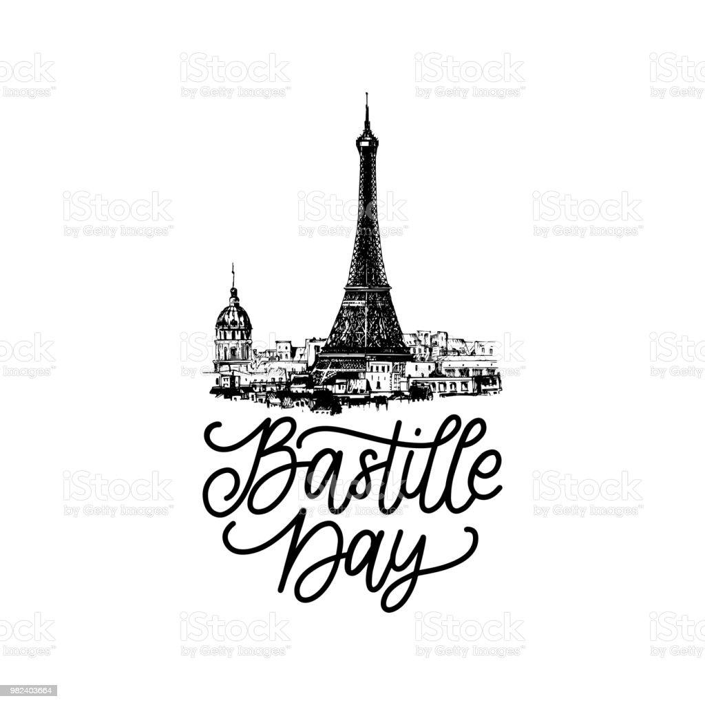 Conception de la fête nationale. Dessinée illustration du concept de juillet background.14th Eiffel Tower.French journée nationale pour carte, affiches. - Illustration vectorielle