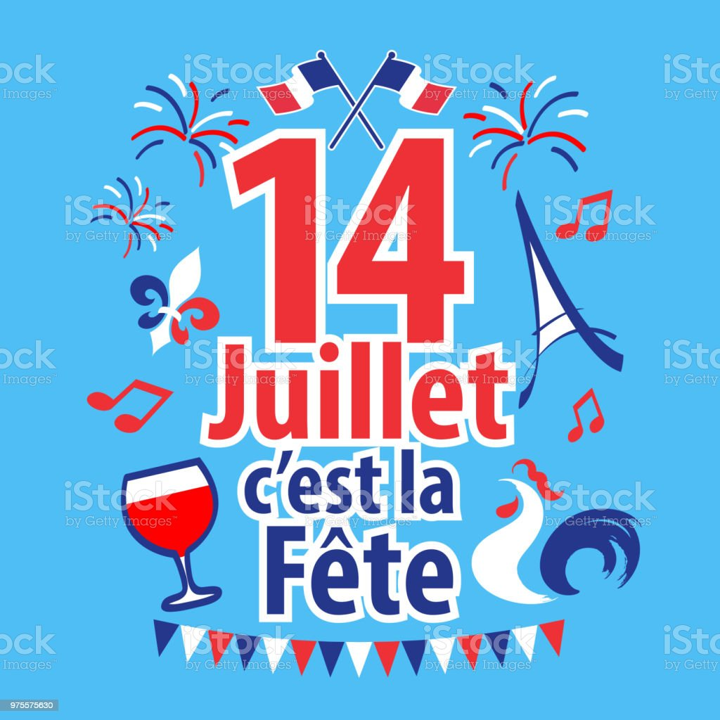 Bastille Day - French National Day vector art illustration