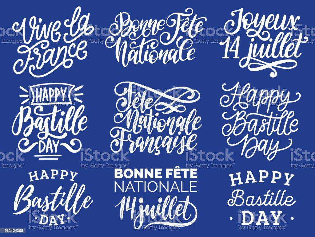 Phrases de Bastille Day écrit à la main. Calligraphie de Joyeux 14 Juillet etc. traduit du français Happy 14 juillet etc.. - Illustration vectorielle