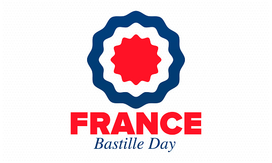 Bastille Day in France. National happy holiday, celebrated annual in July 14. French flag. France independence and freedom. Patriotic elements. Festive design. Vector poster illustration