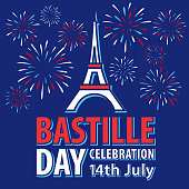 Celebrating Bastille Day, the national day of France, on 14th July in Paris with firework display sparkling on the blue background