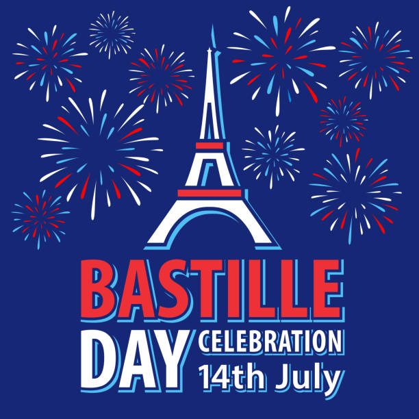 Bastille Day Paris Celebrations Celebrating Bastille Day, the national day of France, on 14th July in Paris with firework display sparkling on the blue background fireworks stock illustrations