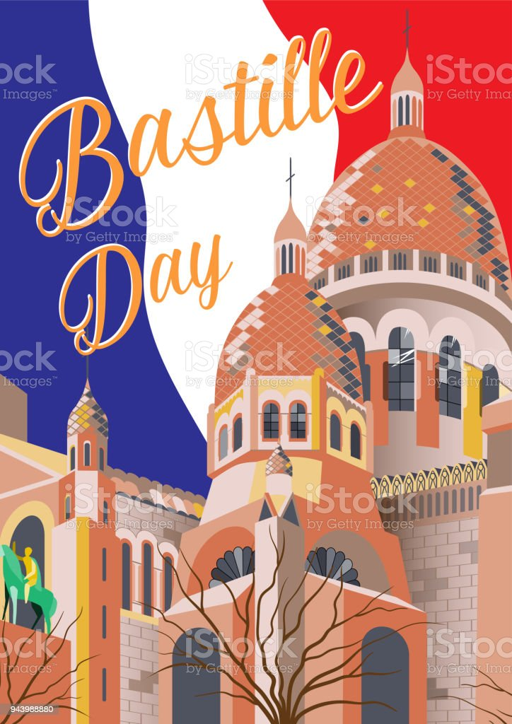 Affiche de la fête de la Bastille. Vector illustration dessinée à la main. Sacré coeur, Paris, France. Texte et l'indicateur sur le fond. - Illustration vectorielle