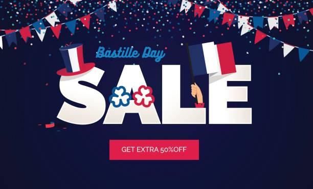 ilustraciones, imágenes clip art, dibujos animados e iconos de stock de ilustración de vector de venta día de la bastilla. - bandera francesa