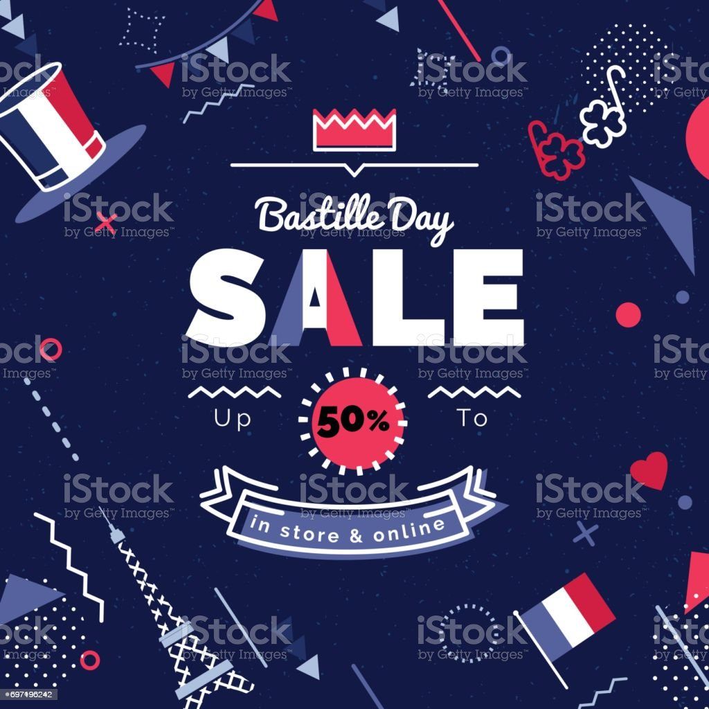 Illustration vectorielle de Bastille day vente. - Illustration vectorielle
