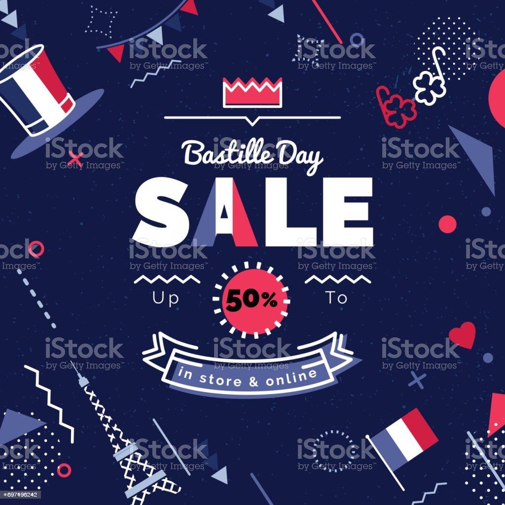 Ilustración de vector de venta día de la Bastilla. - ilustración de arte vectorial