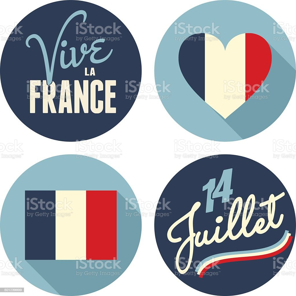 Autocollants de Collection de Fête du 14 juillet - Illustration vectorielle