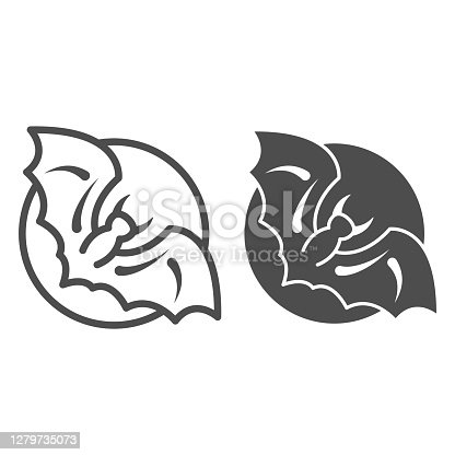 istock Bat against moon line and solid icon, Halloween concept, Halloween spooky night sign on white background, night sky with bat icon in outline style for mobile concept and web design. Vector graphics. 1279735073