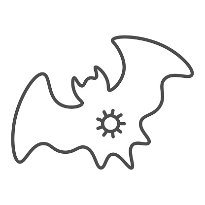 Bat and virus transmission thin line icon, coronavirus epidemic concept, virus on bat sign on white background, Infected bat icon in outline style for mobile concept, web design. Vector graphics.