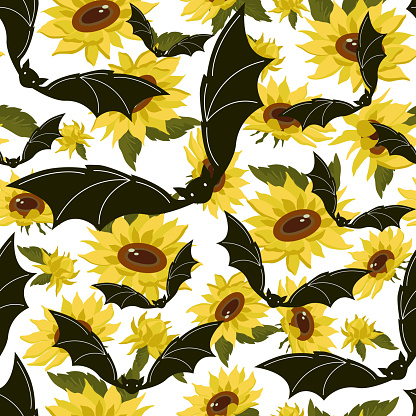 Bat and yellow sunflowers on a white background.