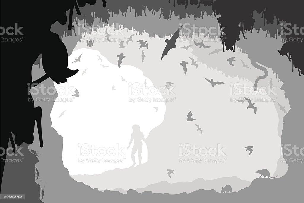 Bat cave vector art illustration