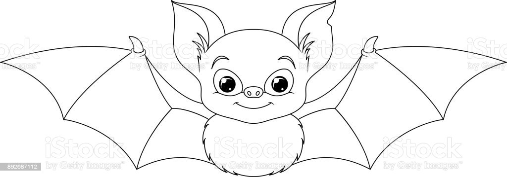 Ilustración de Página Para Colorear De Bat y más banco de imágenes ...
