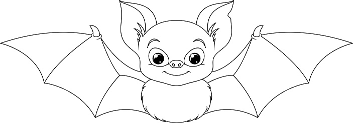 Bat Coloring Page Stock Illustration - Download Image Now ...