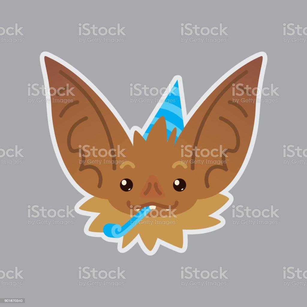 Bat emotional head. Vector illustration of bat-eared brown creature shows holiday emotion. Celebrating emoji. vector art illustration