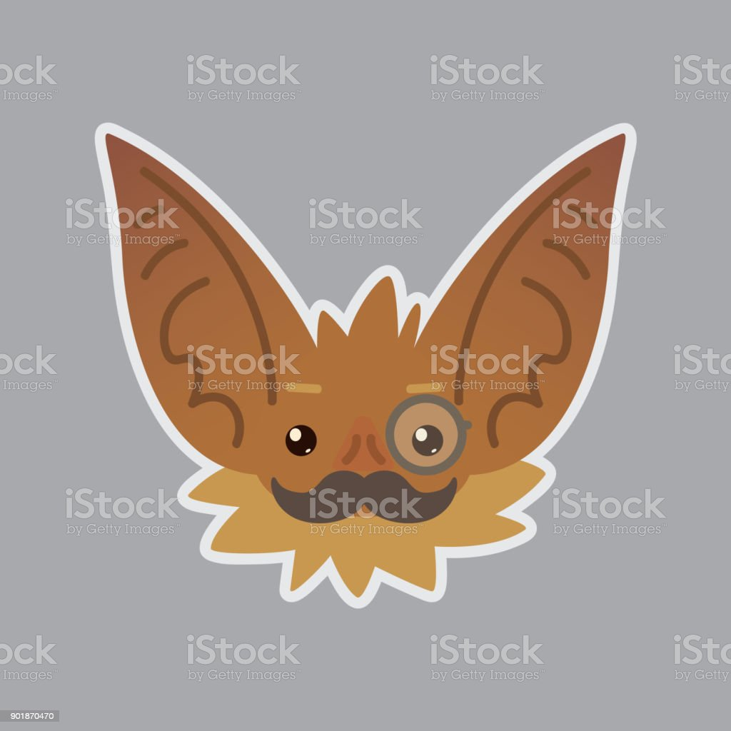 Bat emotional head. Vector illustration of bat-eared brown creature shows intellectual emotion. Mister in monocle with moustache emoji. vector art illustration
