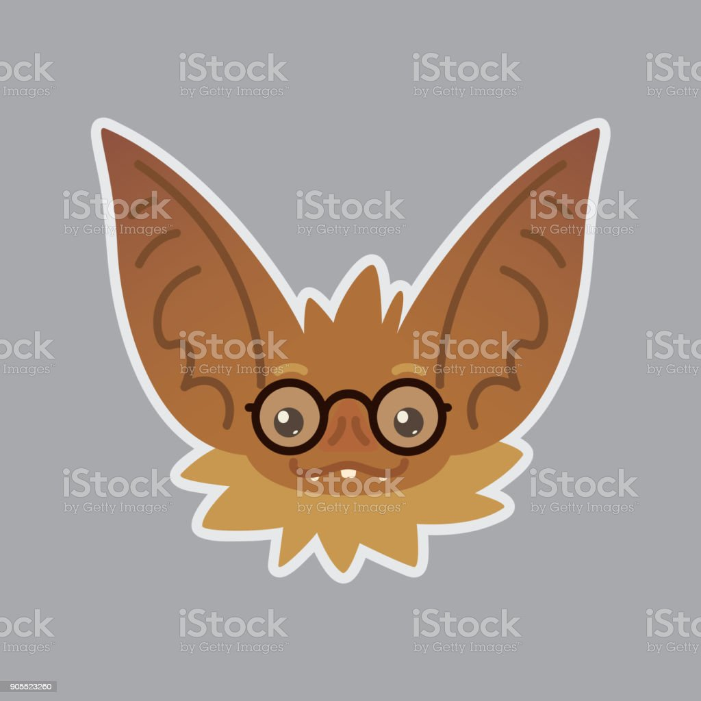 Bat emotional head. Vector illustration of bat-eared brown creature shows nerd emotion. Smart emoji. Smiley icon. Halloween decoration, print, chat, communication. Object with sublayer. Education. vector art illustration