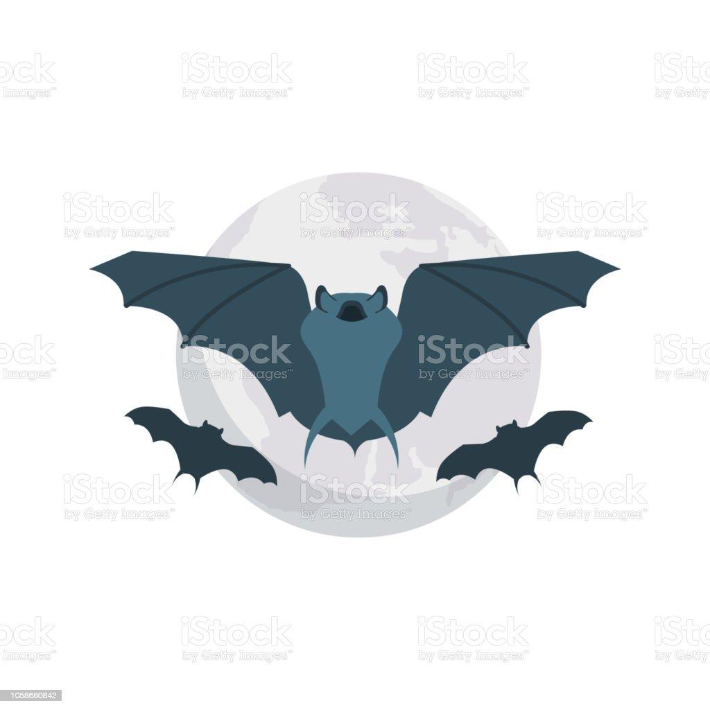 bat  fly  animal vector art illustration