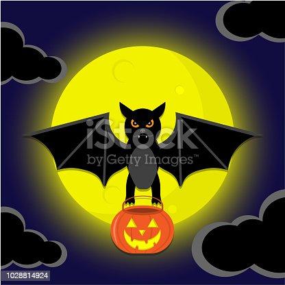Bat flying on the night sky Halloween and holding pot pumpkin.