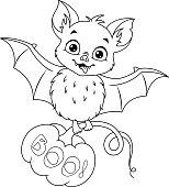 Sayfa Boyama Yarasa Uyku Stok Vektör Sanatı Animasyon Karakternin