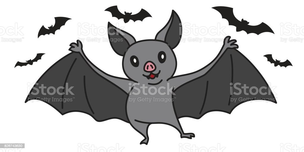 Fledermaus Halloween Fledermaus Cartoon Vektor Illustration Doodle