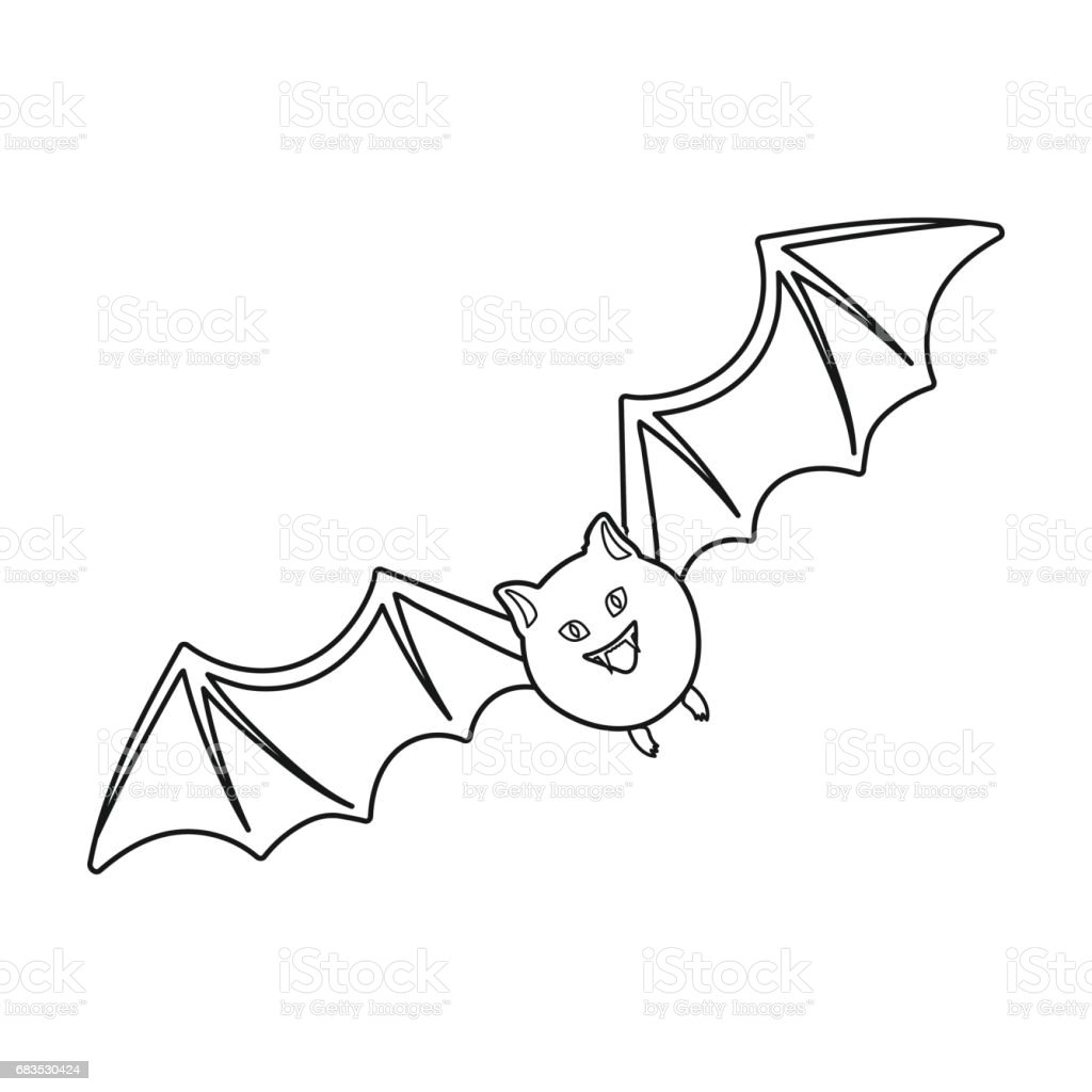 bat icon in outline style isolated on white background black and