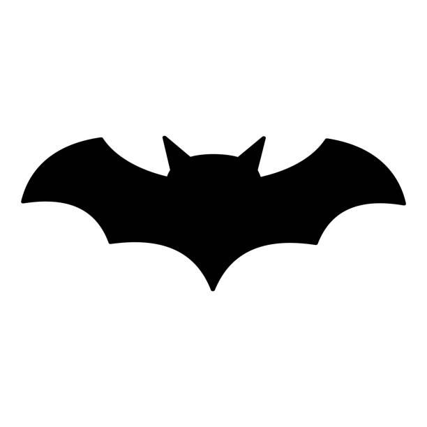 Bat icon, silhouette vector symbol isolated on white background vector art illustration