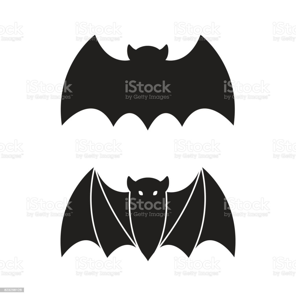 bat icon vector halloween illustration symbol stock vector art
