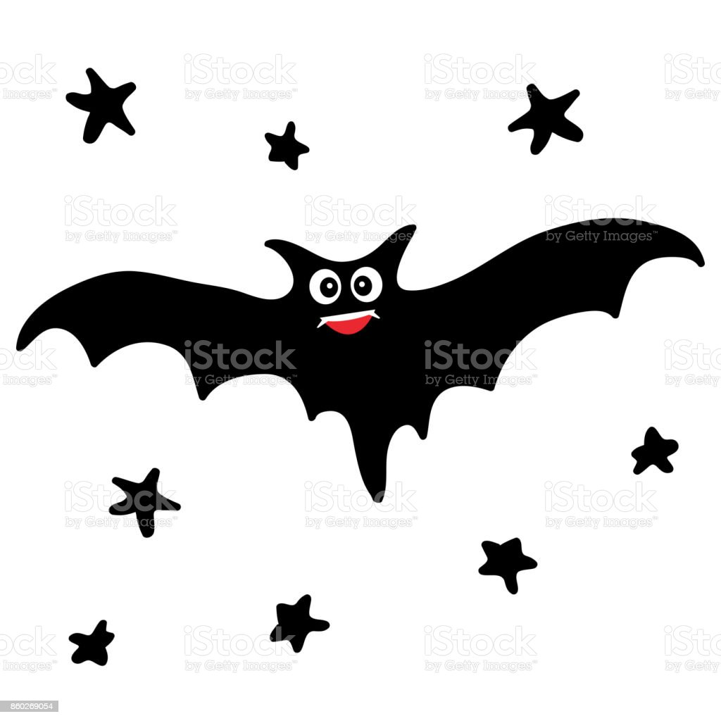 Bat in the night sky. vector art illustration