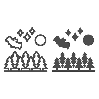 Bat on background of forest and moon line and solid icon, halloween concept, bat in forest sign on white background, bat and full moon icon in outline style for mobile concept. Vector graphics.