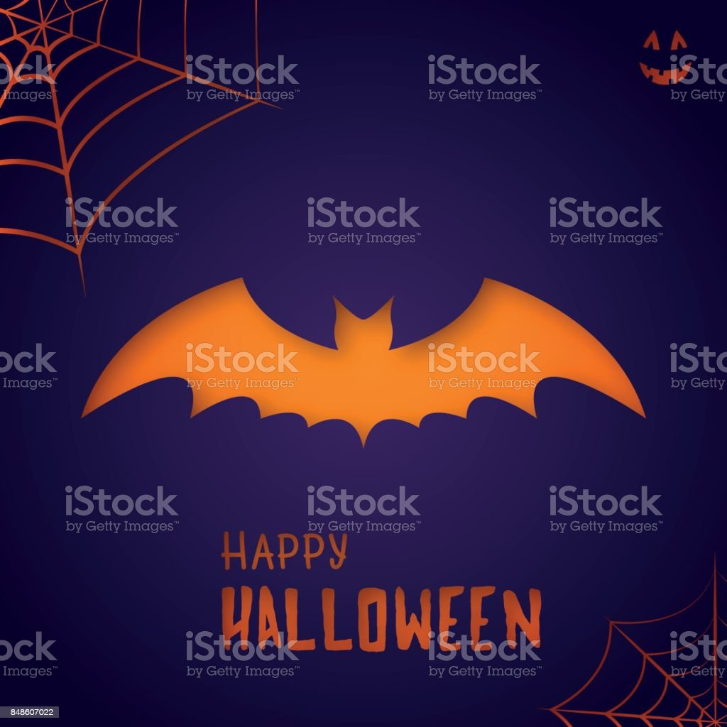 Bat on purple background. Happy Halloween. Suitable for greeting card, poster and so on. vector art illustration