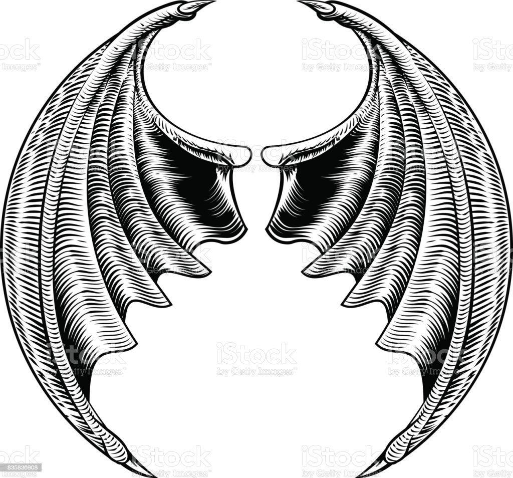 Bat or Dragon Wings Design vector art illustration