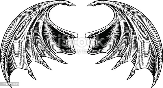 A demon dragon or vampire bat wings horror Halloween design in a vintage woodcut style