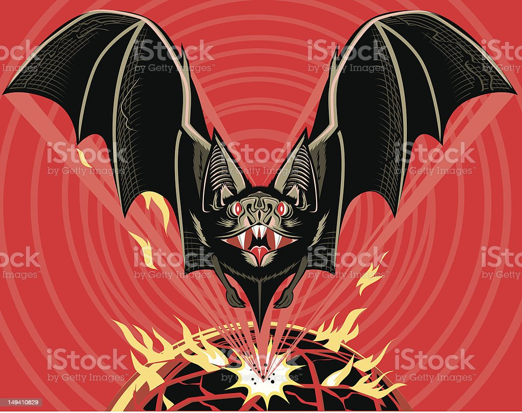 Bat Out of You-Know-Where royalty-free stock vector art