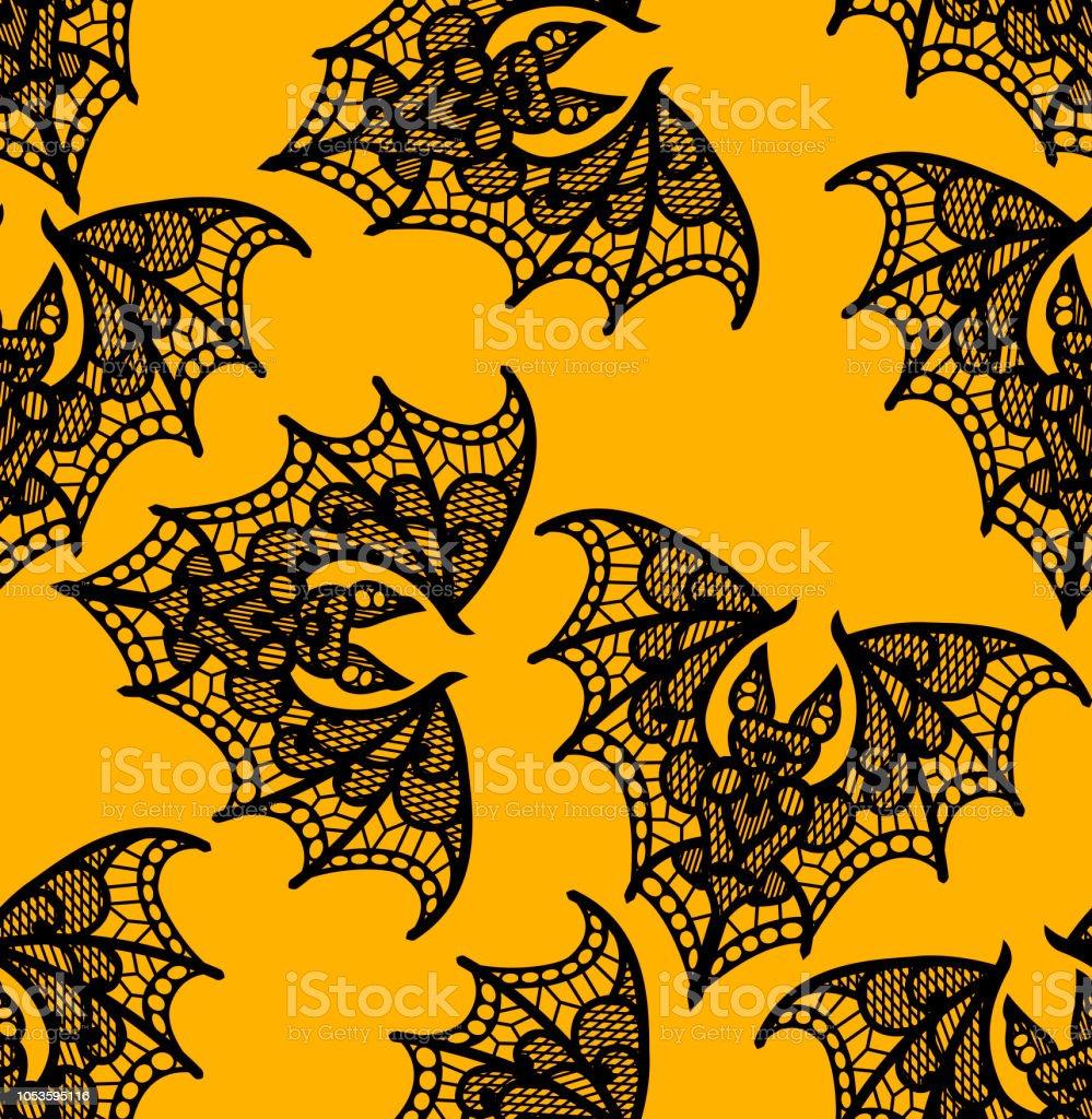 Bat. Seamless pattern. Black Lace  pattern. Yellow background. vector art illustration