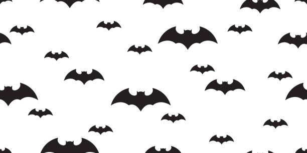 bat seamless pattern halloween vector scarf isolated dracula ghost flock illustration tile background repeat wallpaper - bat stock illustrations, clip art, cartoons, & icons
