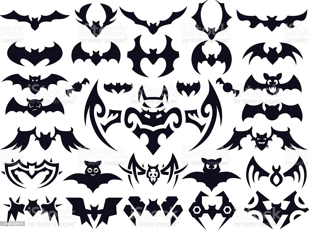 Bat Shapes Set for Halloween vector art illustration
