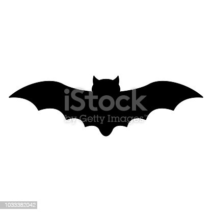 Black flying bat silhouette isolated on white background