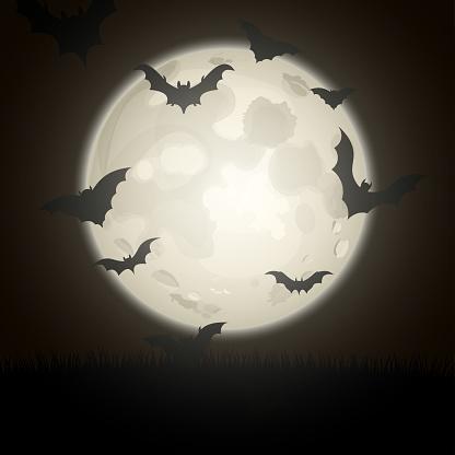 Bat silhouettes on night full moon background.