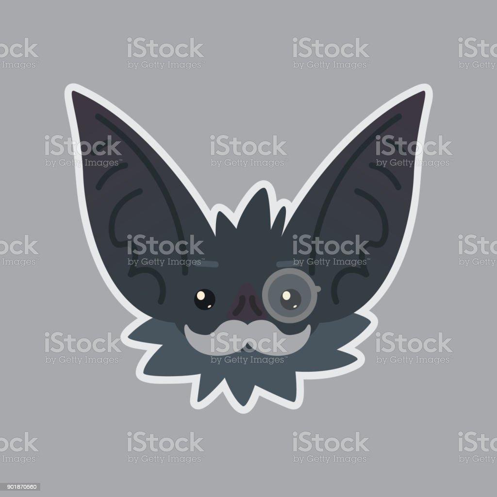 Bat sticker. Emoji. Vector illustration of cute Halloween bat vampire shows intellectual emotion. Mister in monocle with moustache. vector art illustration